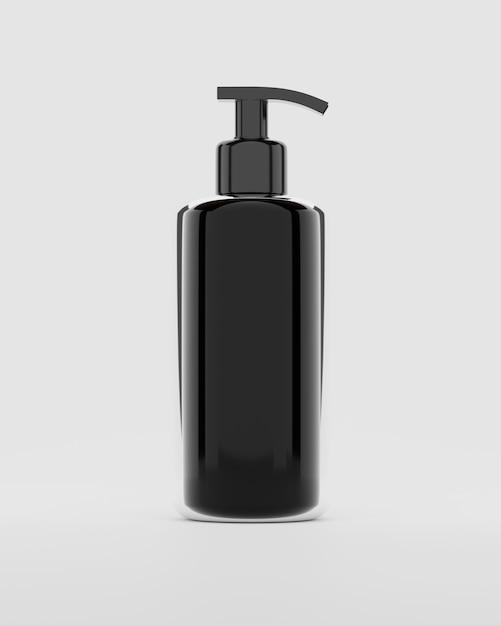 Representación 3d botella de plástico negro con bombas de champú aislado en blanco Foto Premium