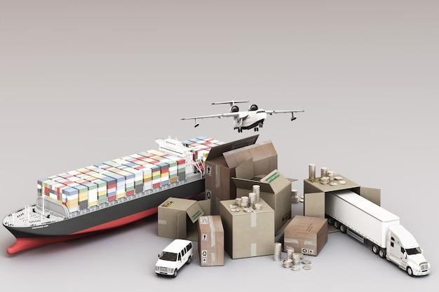 Representación 3d de la caja de la caja rodeada de cajas de cartón, un barco de contenedores de carga, un plano de vuelo, un automóvil, una camioneta y un camión Foto Premium