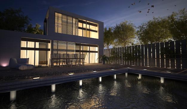 Representación 3d De La Casa Moderna Con Terraza En La Noche
