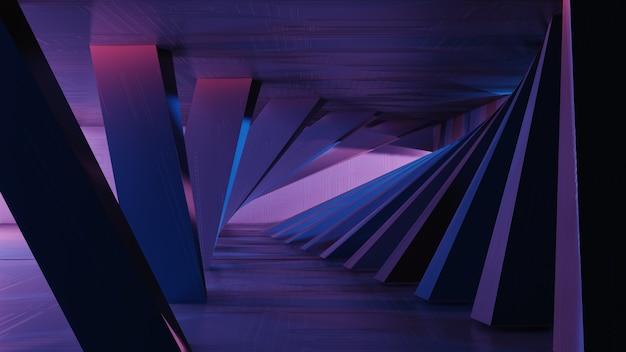 Representación 3d de ciencia ficción interior, formas geométricas simples. fondo abstracto futurista del metal, luz de neón. Foto Premium