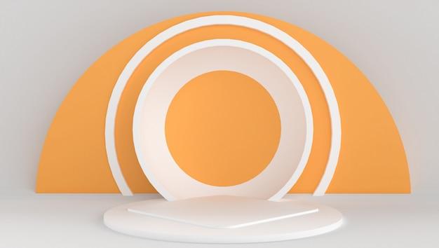 Representación 3d de color blanco y naranja con fondo mínimo y abstracto. escenario con forma y geometría. Foto Premium