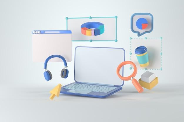 Representación 3d de computadora portátil e infografía. Foto Premium