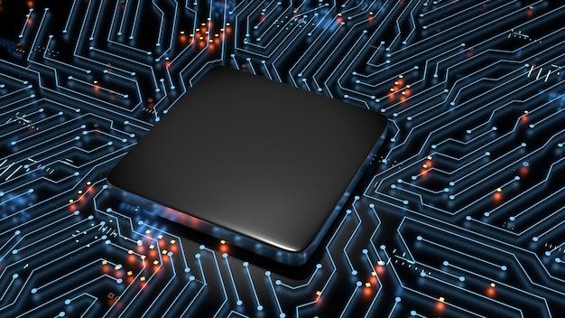 Representación 3d de la cpu vacía en blanco en el fondo de la placa principal del circuito brillante. Foto Premium