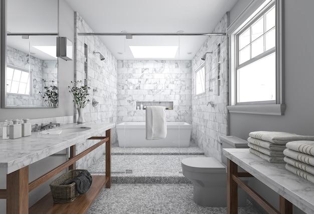Representación 3d del cuarto de baño moderno mínimo con ...