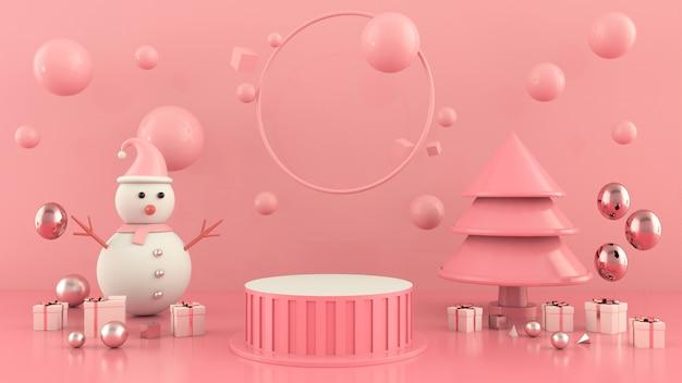 Representación 3d de la decoración del concepto de la escena del árbol de navidad de la forma geométrica Foto Premium