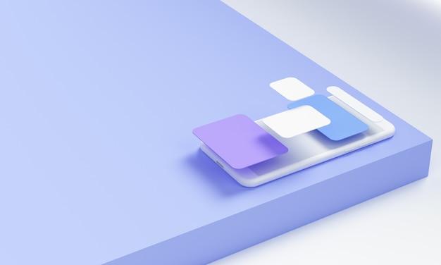 Representación 3d desarrollo de aplicaciones móviles y concepto de desarrollo de software Foto Premium