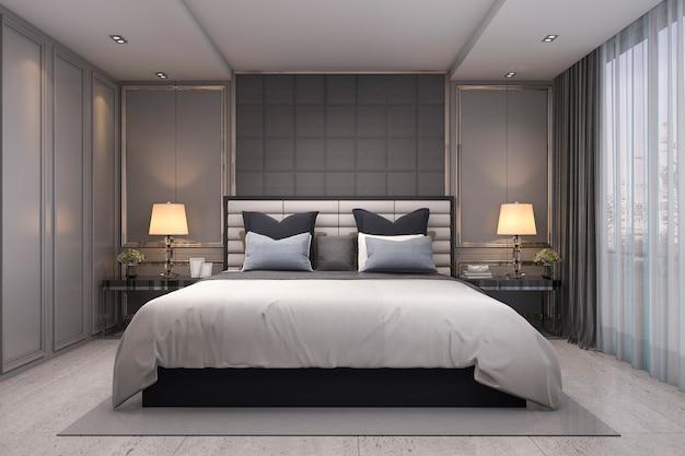 Representación 3d dormitorio clásico de lujo moderno con decoración de mármol Foto Premium