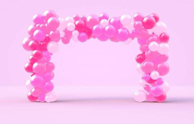 Representación 3d dulce marco cuadrado del día de san valentín con fondo de globos de dulces de color rosa Foto Premium