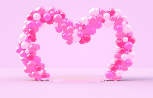 Representación 3d dulce marco de forma de corazón de san valentín con fondo de globos de caramelo de color rosa Foto Premium