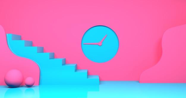Representación 3d de forma geométrica abstracta de color rosa y verde azulado Foto Premium