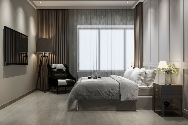 Representación 3d hermosa suite vintage de lujo en hotel con tv Foto Premium