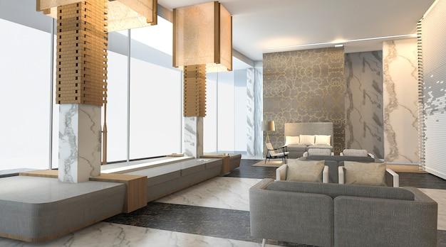 Representación 3d hermoso y lujoso vestíbulo del hotel con una bonita textura de pared Foto Premium