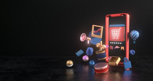 Representación 3d de los iconos de teléfono inteligente y carro. Foto Premium