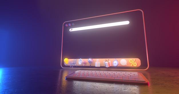Representación 3d de iconos web y luz de neón. Foto Premium