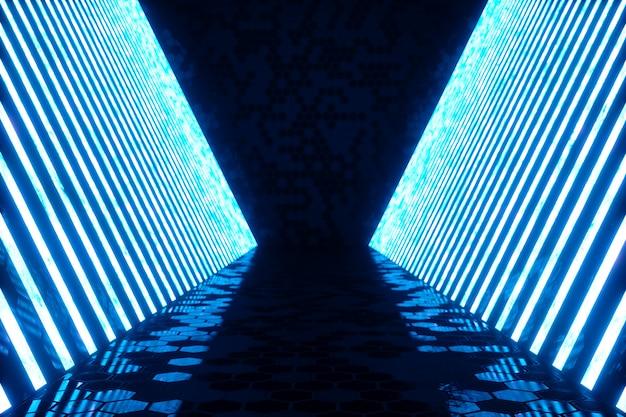 Representación 3d interior de habitación azul abstracto con lámparas de neón azul. fondo de arquitectura futurista. maqueta para su proyecto de diseño. Foto Premium