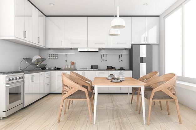 Representación 3d loft blanco y cocina y comedor limpios Foto Premium