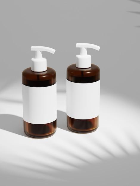 Representación 3d maqueta de botella de champú de plástico duo bajo el sol. Foto Premium