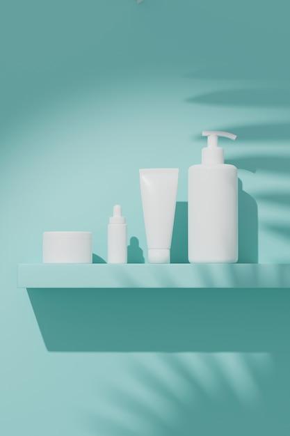 Representación 3d maqueta paquete cosmético para el cuidado de la piel, poner en la pared bajo el sol. Foto Premium