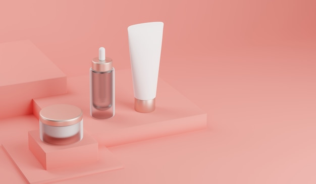 Representación 3d maqueta paquete cosmético para el cuidado de la piel. Foto Premium