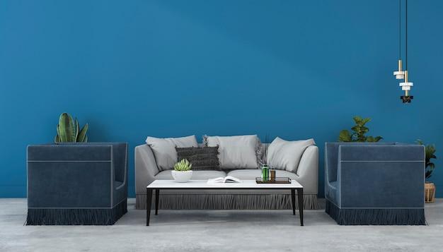 Representación 3d maqueta pared azul y sofá en la sala de estar con sillón Foto Premium