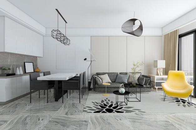 Representación 3d moderna sala de estar y comedor de azulejos Foto Premium