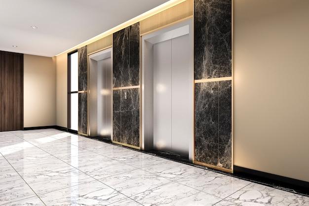 Representación 3d moderno ascensor de acero ascensor vestíbulo en hotel de negocios con diseño de lujo Foto Premium