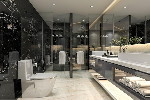 Representación 3d moderno baño negro con decoración de azulejos de lujo Foto Premium