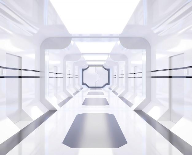 Representación 3d de la nave espacial blanca y brillante interior con vista, túnel, pasillo Foto Premium