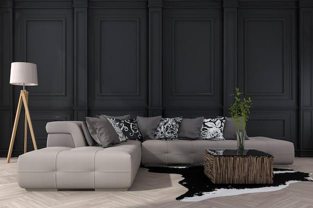 Representación 3d de pared negra clásica con sofá Foto Premium
