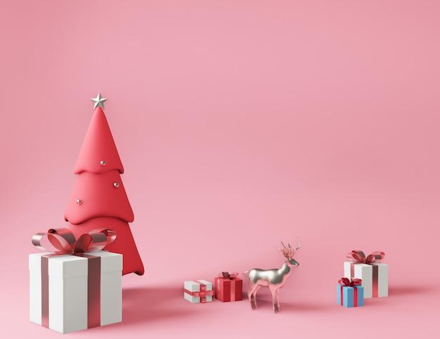 Representación 3d de pequeñas cajas de regalo y árbol de navidad rosa metálico Foto Premium