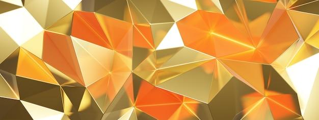 Representación 3d de resumen dorado con triángulos Foto Premium