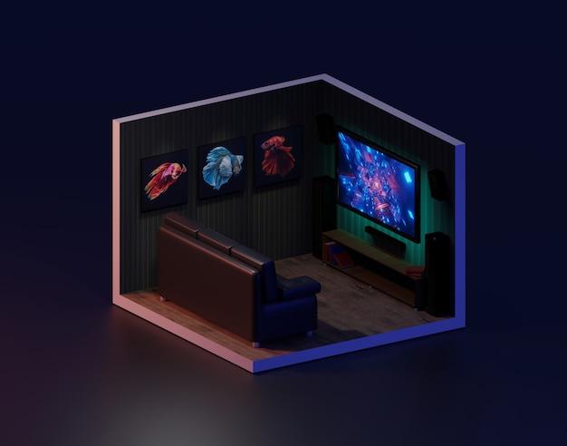 Representación 3d sala de cine isométrica., ilustración 3d. Foto Premium