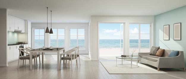 Representaci n 3d de la sala de estar de la vista al mar for Cocina abierta al comedor y sala de estar