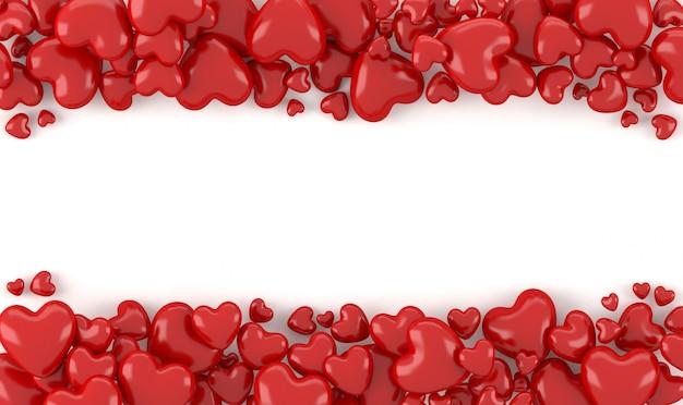 Representación 3d, stock de forma de corazón rojo 3d con fondo blanco, espacio para texto o derechos de autor, concepto de fondo de san valentín Foto Premium