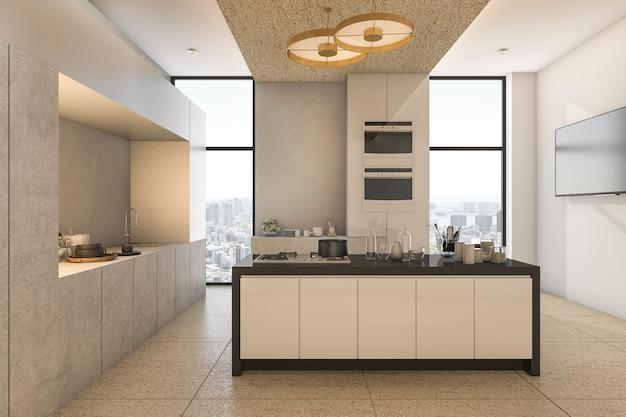 Representación 3d vista agradable de la ciudad desde la cocina y comedor en condominio Foto Premium