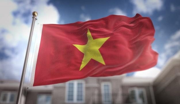 Representación de la bandera de vietnam 3d en fondo del edificio del cielo azul Foto Premium