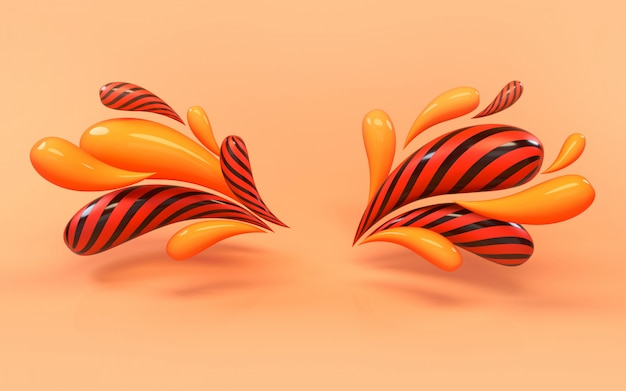 Representación del fondo 3d del bastidor colorido líquido colorido de las gotas. Foto Premium