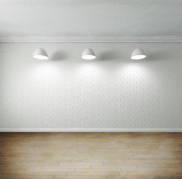 Representación de una habitación vacía con piso de parquet de alta calidad, pared de ladrillos en blanco, luces colgantes en el techo Foto Premium