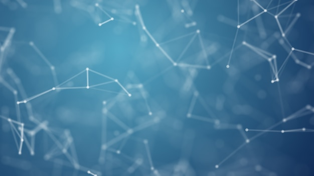 Resumen azul borrosa red de estructura metálica y punto de conexión en el espacio en el fondo Foto Premium
