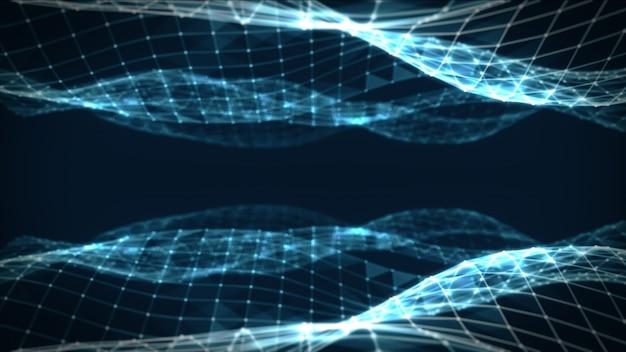 Resumen espacio poligonal bajo poli azul oscuro fondo con puntos y líneas de conexión. estructura de conexión. fondo futurista de hud. ilustración 3d Foto Premium