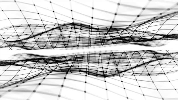 Resumen espacio poligonal bajo poli blanco y negro de fondo con puntos y líneas de conexión. estructura de conexión. fondo futurista de hud. ilustración 3d Foto Premium
