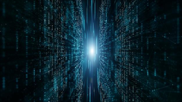 Resumen de flujo de partículas de matriz digital, conexión de datos digitales, concepto de tecnología. Foto Premium