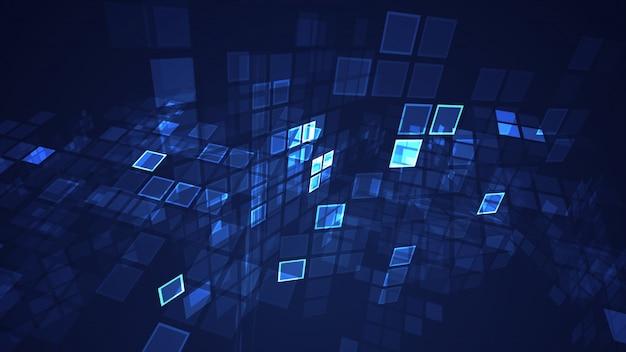 Resumen gráfico azul intermitente rectángulo cuadrícula fondo de perspectiva Foto Premium