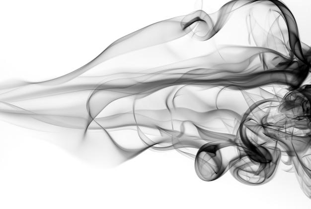 Resumen de humo blanco y negro sobre fondo blanco, diseño de fuego Foto Premium