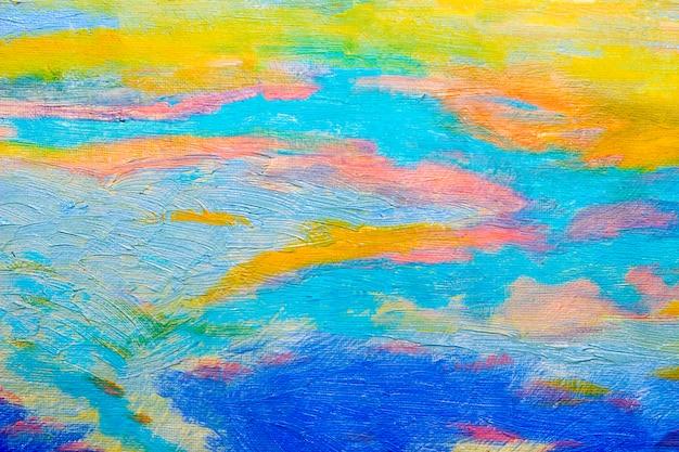 Resumen pintura al óleo original con cielo azul Foto Premium