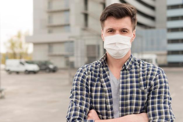 Retrato hombre con máscara Foto Premium