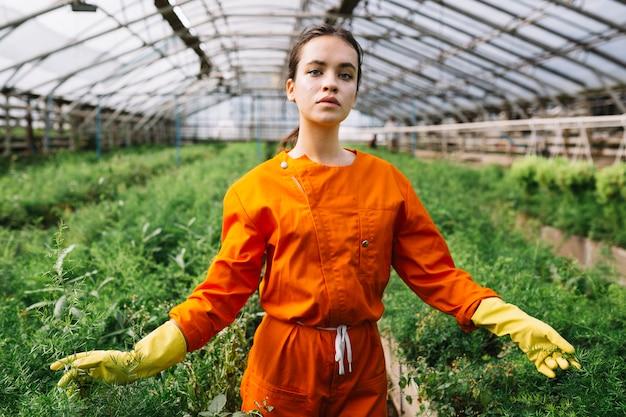 Retrato de un jardinero de sexo femenino que toca las plantas Foto gratis