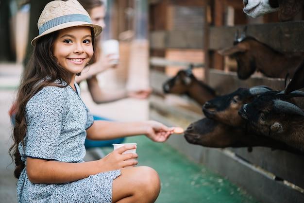 Retrato de niña sonriente alimentación galleta a cabra en el granero Foto gratis