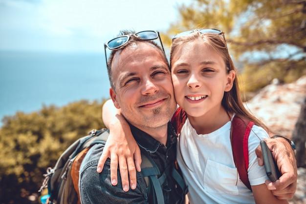 Retrato de padre e hija Foto Premium