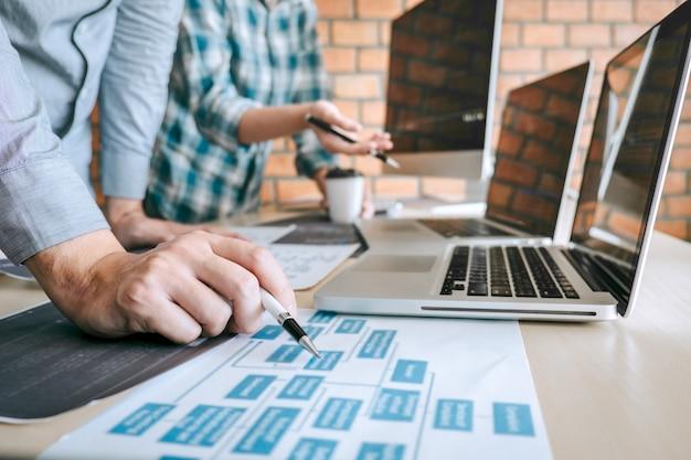 Reunión de cooperación del equipo de programadores de desarrolladores profesionales y lluvia de ideas y programación en el sitio web trabajando con un software y tecnología de codificación, escribiendo códigos y bases de datos Foto Premium